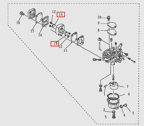 Клапан для лодочного мотора T9.8 Sea-PRO (5-13)