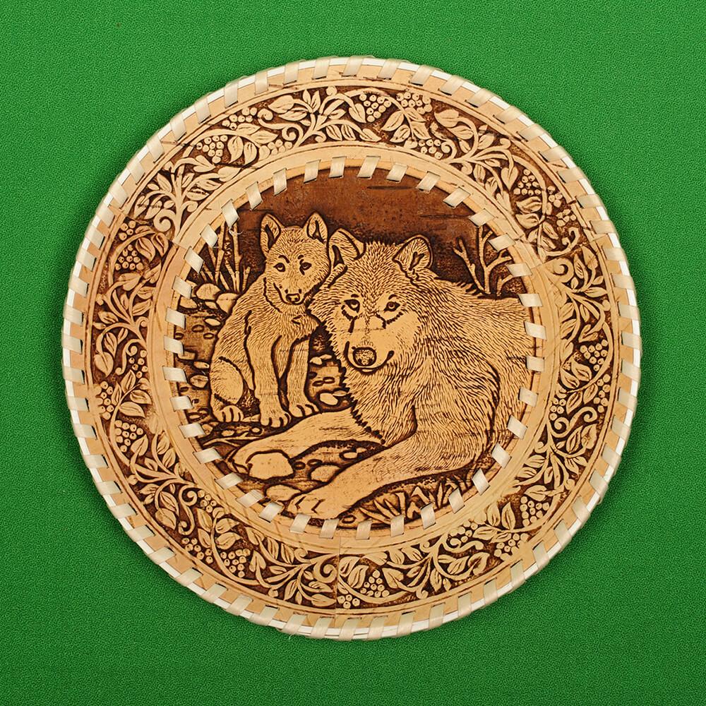 Тарелка круглая Волки