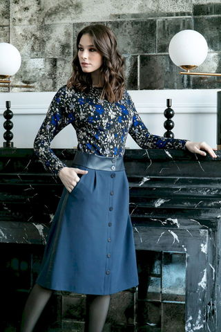 Фото юбка на пуговицах и вставками на поясе и по бокам - Юбка Б155-159 (1)