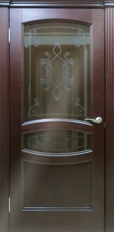 Дверь Аврора ПО (красное дерево, остекленная шпонированная), фабрика LiGa