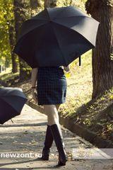 Зонт-трость обратного сложения черный механический