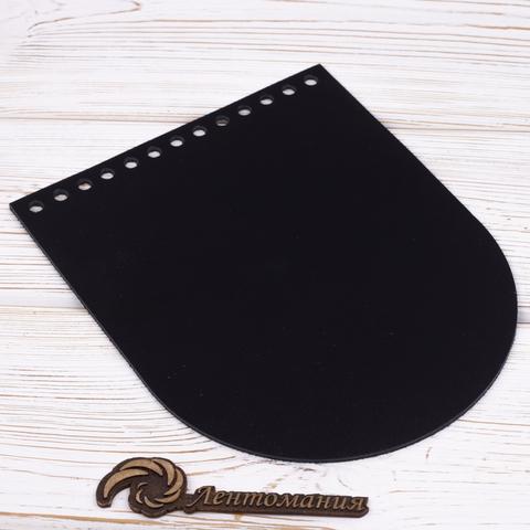 Клапан для сумочки кожаный черный 19,5 на 15,5 см