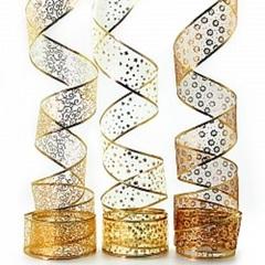 Лента декоративная, Органза, Золото, 1 шт. (6 см*2,74 м)