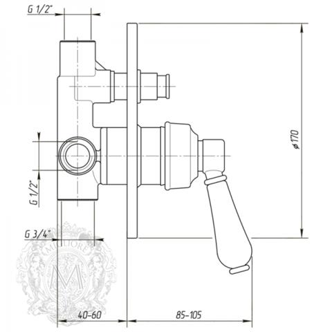 Смеситель для ванны/душа встроенный Migliore Hermitage ML.ERM-7072.BI схема