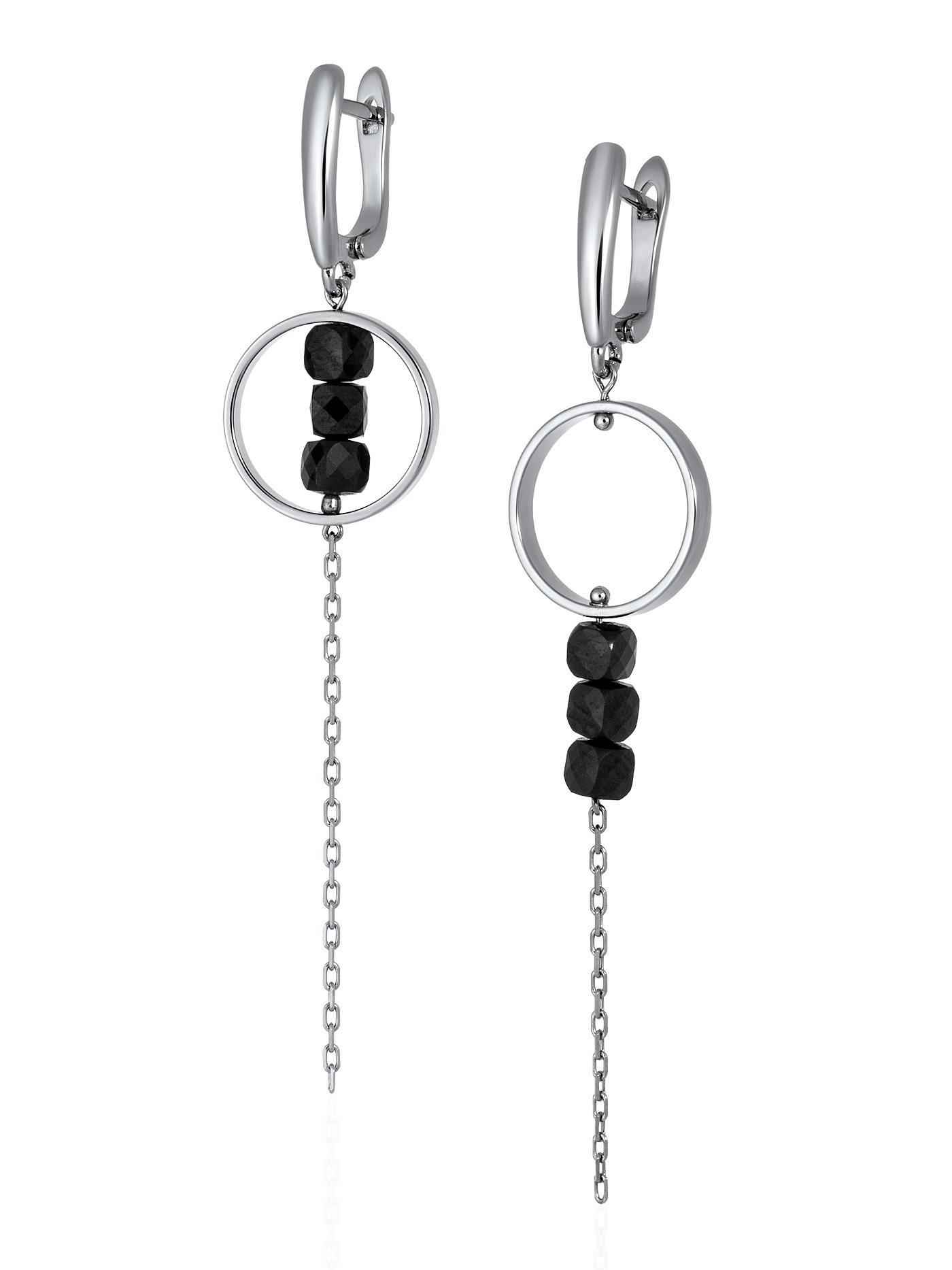 Асимметричные серьги с черным турмалином