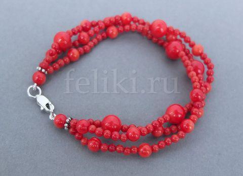 тройной браслет из красных кораллов