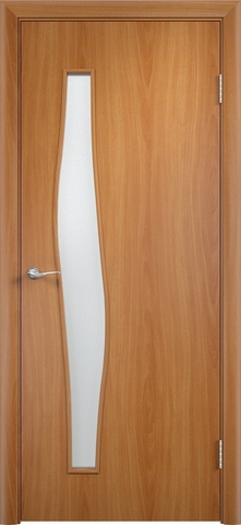 Дверь Сибирь Профиль Волна (С-10), цвет миланский орех, остекленная