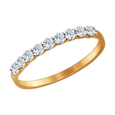 017169 -Тонкое кольцо из золота с фианитами