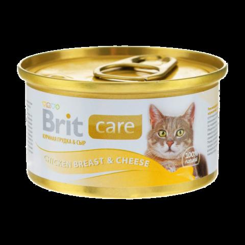 Brit Care Cat Консервы для кошек с куриной грудкой и сыром