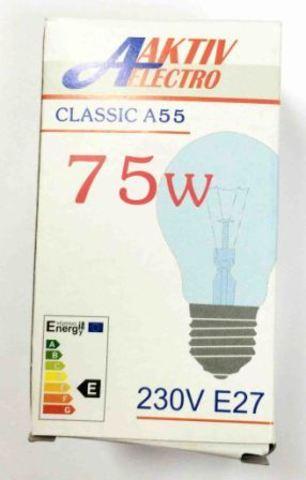 Лампа накаливания Б-230-75-1 75Вт Е-27 Aktiv-Electro груша