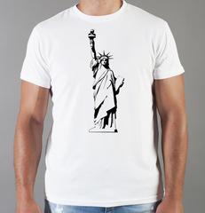 Футболка с принтом США, Статуя Свободы (USA/ Statue of Liberty ) белая 003