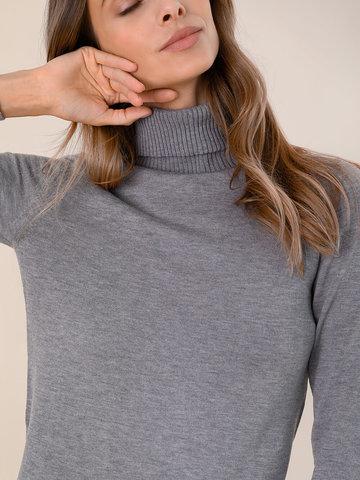 Женский свитер серого цвета из шерсти и шелка - фото 3