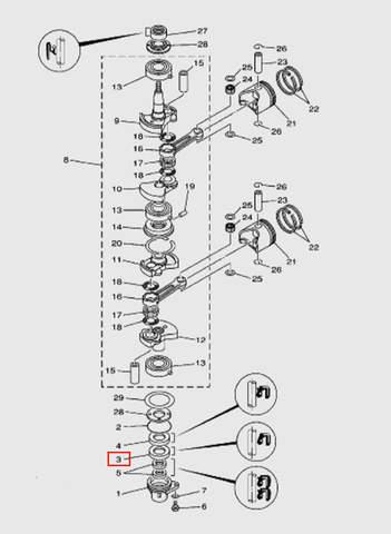 Сальник коленвала 25х38х6 для лодочного мотора T15, OTH 9,9 SEA-PRO (3-3)