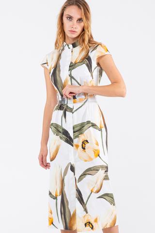 Фото прямое белое платье длины миди с крупным цветочным принтом - Платье З458-353 (1)