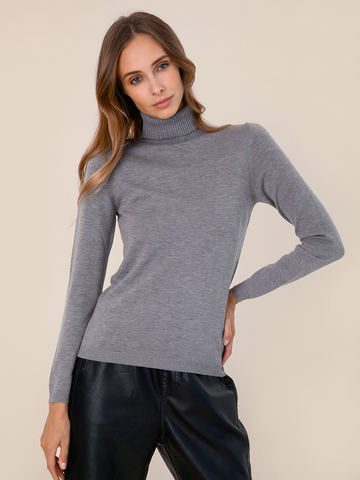 Женский свитер серого цвета из шерсти и шелка - фото 2