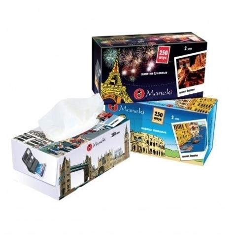 Салфетки-выдергушки бумажные двухслойные с микротиснением и ароматом Европы Maneki Dream 250 шт