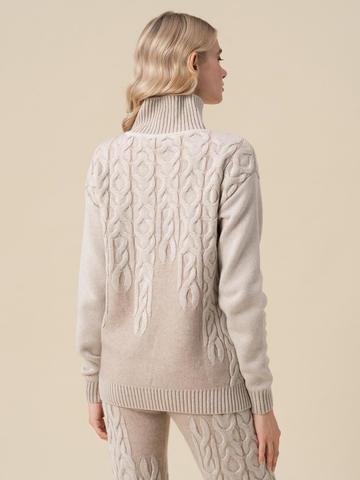 Женский свитер бежевого цвета из 100% кашемира - фото 4