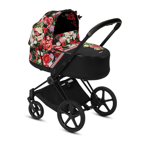 Коляска для новорожденных Cybex Priam III FE Spring Blossom Dark шасси Matt Black