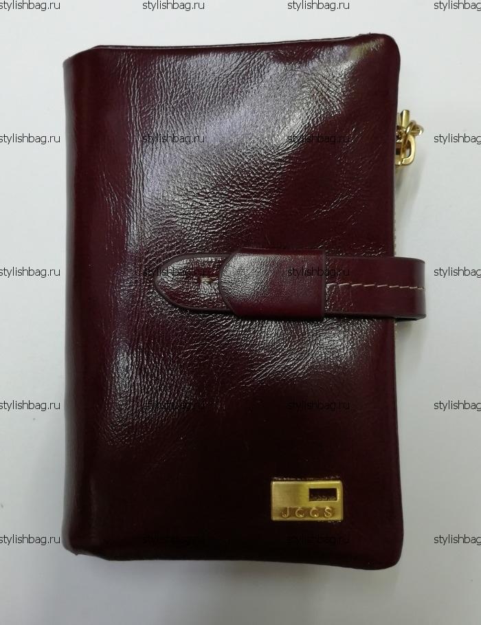 Маленький бордовый кошелек из кожи JCCS j-1029