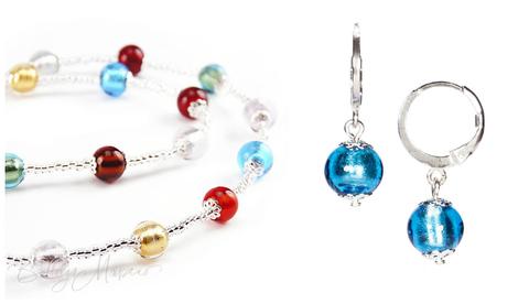 Комплект Carnavale Argento Piccolo (голубые серьги Piccolo, ожерелье)