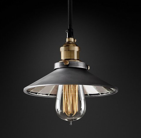 Подвесной светильник копия 20th C. Factory Filament Reflector Single Pendant by Restoration Hardware