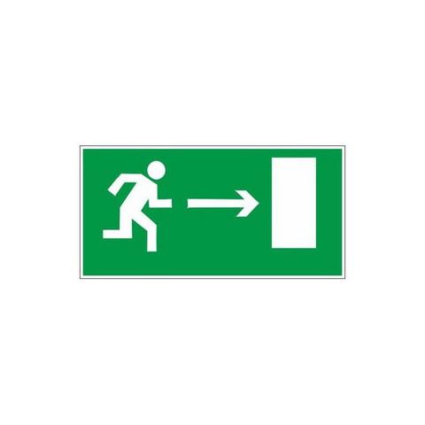 Знак Е03 Направление к эвакуационному выходу направо пластик ПВХ с ф/л покрытием 300х150х2 мм