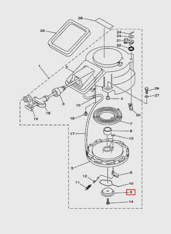 Тарелка барабана стартера  для лодочного мотора T15, OTH 9,9 SEA-PRO (7-9)