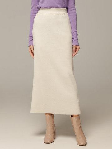 Женская белая юбка с разрезом из 100% кашемира - фото 2