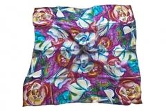 Итальянский платок из шелка разноцветный с цветами 0726