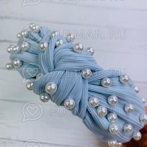 Голубой ободок чалма для волос с искусственным жемчугом