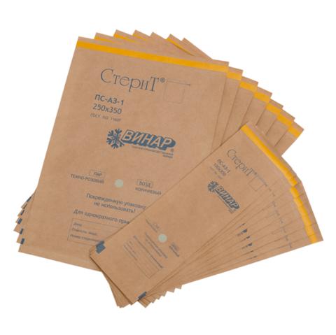 Крафт-пакеты коричневые 75*280 мм с индикатором (100 шт)