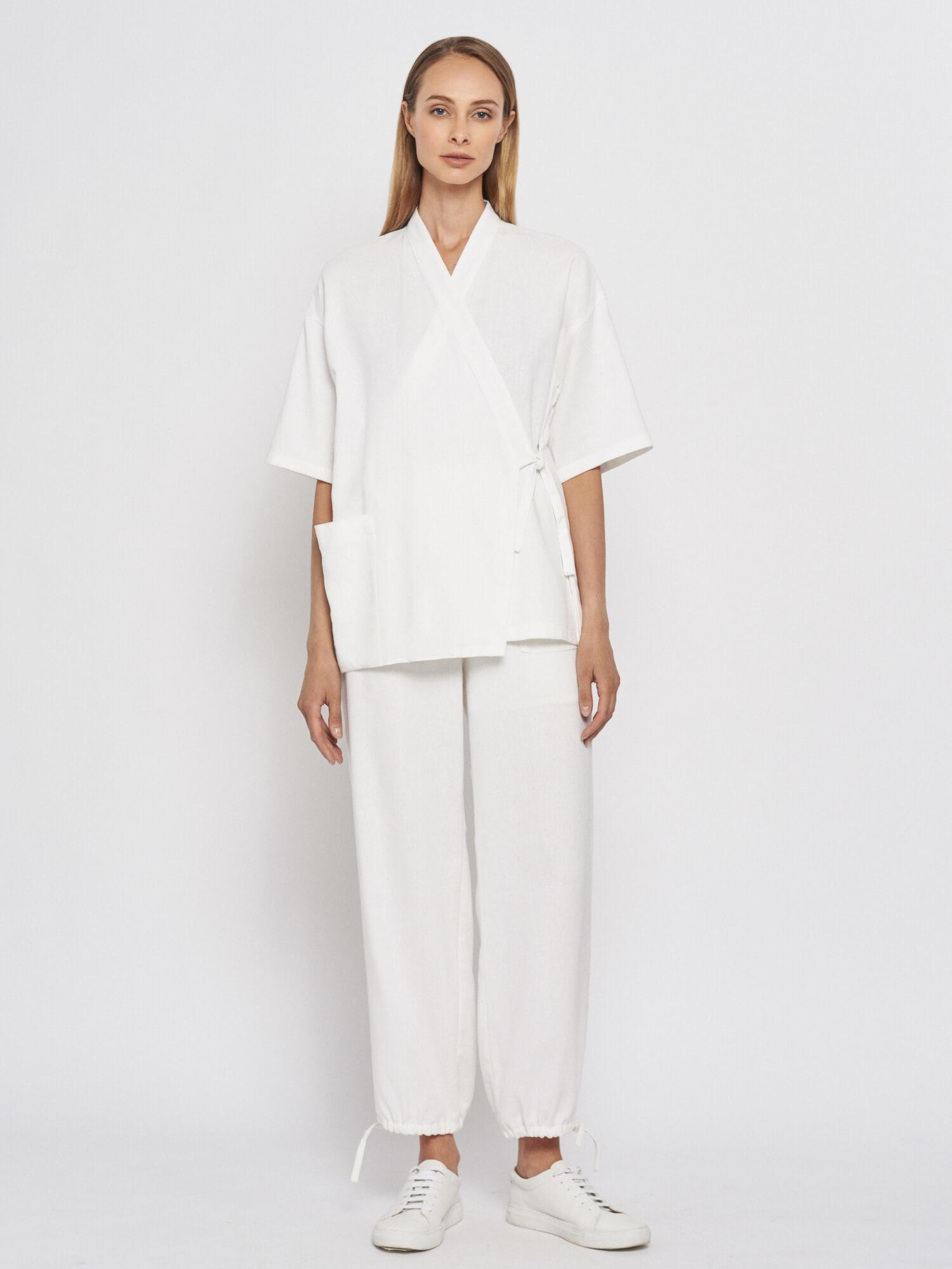 Блуза-кимоно Akane в пижамном стиле, Белый