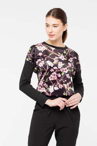 Фото черный джемпер с цельнокроенными рукавами и цветочным орнаментом - Джемпер В617-823 (1)
