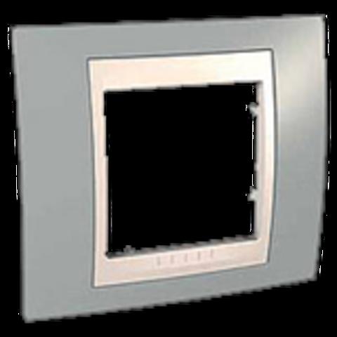 Рамка на 1 пост. Цвет Серый/Бежевый. Schneider electric Unica Хамелеон. MGU6.002.565