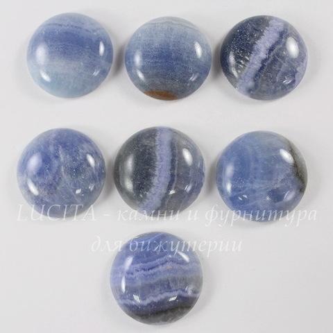 Кабошон круглый Агат голубой 25 мм (1 сорт)