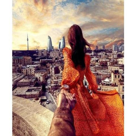 Картина раскраска по номерам 40x50 Следуй за девушкой в оранжевом платье