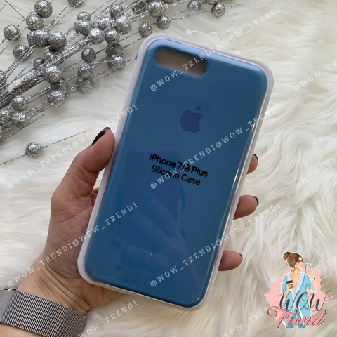 Чехол iPhone 7+/8+ Silicone Case /denim blue/ джинс 1:1