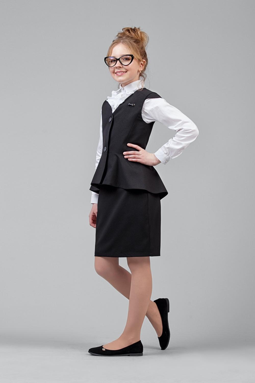 Жилет черный для девочки 34-8003-1