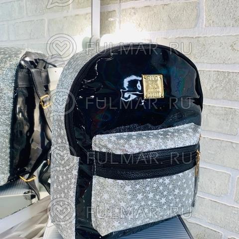 Рюкзак для девочки блестящий лаковый со звездами Чёрный с Серебристым