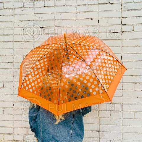 Зонт-трость женский полуавтомат 8 спиц Парижанка Рыжий
