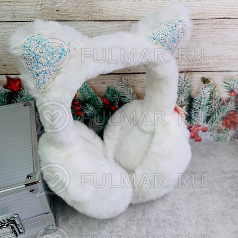 Наушники утеплённые складные для девочки с ушками Кошечки в блёстках цвет: белый