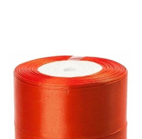 Лента атласная (размер:40мм х 25 ярдов) Цвет:темно-оранжевый