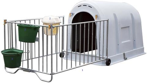 Домик для телят с ограждением и аксессуарами в комплекте, 2-х слойный