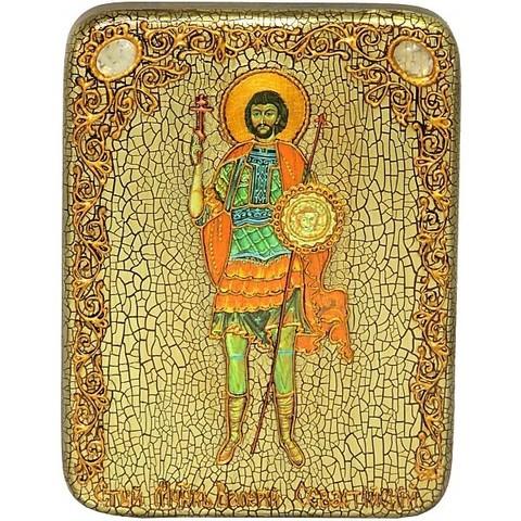 Инкрустированная Икона Святой мученик Валерий Севастийский 20х15см на натуральном дереве, в подарочной коробке
