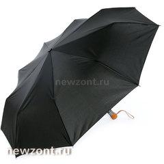 Черный мужской зонт с деревянной ручкой автомат Lamberti