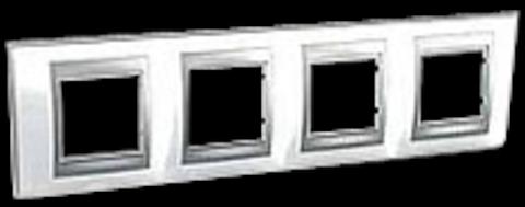 Рамка на 4 поста. Цвет Нордик-алюминий. Schneider electric Unica Top. MGU66.008.092