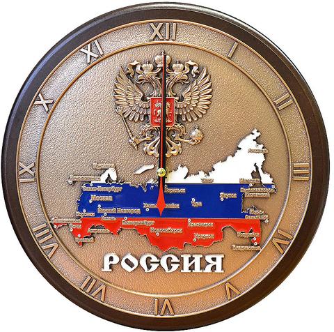 """Часы настенные """"Карта России"""" в подарочной упаковке"""