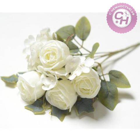 Розы искусственные, букет 5 веток, 32 см.