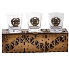 Коллекционный сувенирный набор стаканов «Герб СССР», 3 шт, фото 4