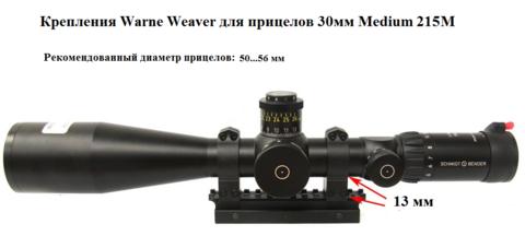 КРЕПЛЕНИЯ WARNE WEAVER ДЛЯ ПРИЦЕЛОВ 30 ММ HIGH 215M